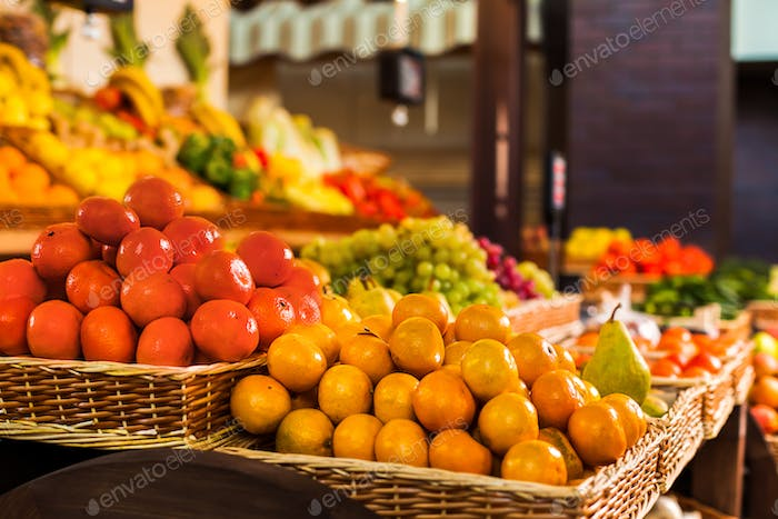Fresh fruits and vegetables on the counter.