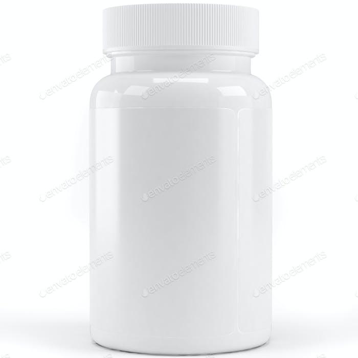 Medicine bottle without labels on white background. 3D illustration