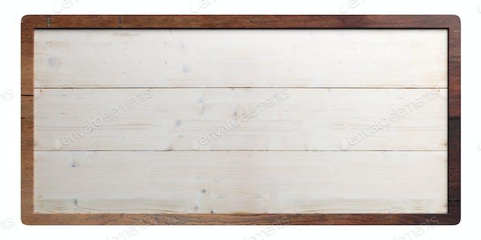 Wooden sign on white background. 3d illustration