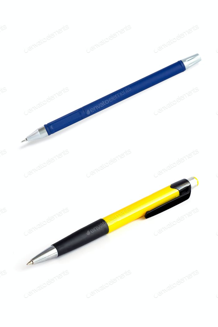 yellow and blue pens