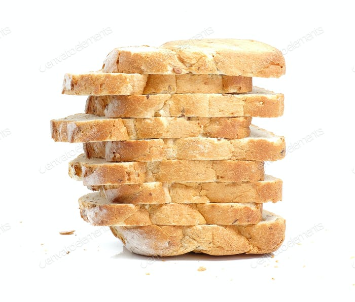 Sliced bread vertical drop on white background.