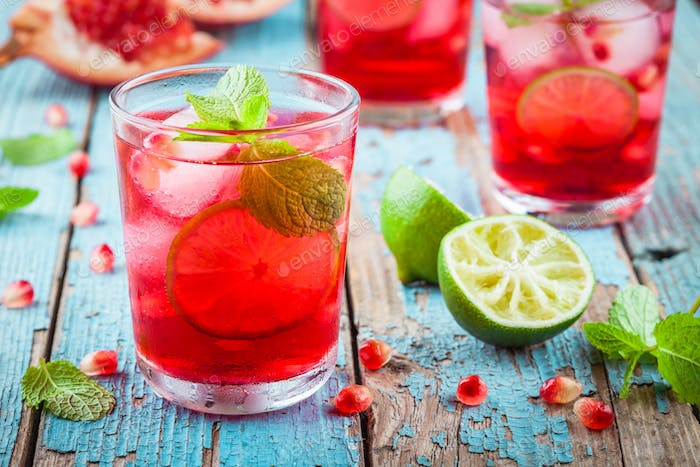 homemade lemonade with pomegranate, mint and lime