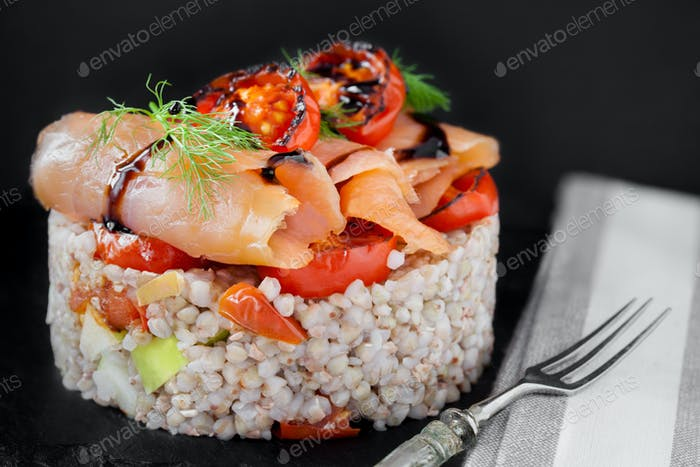 Smoked Salmon On Spelt With Vegetables