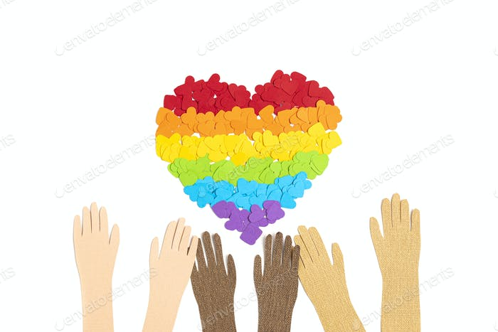paper heart with rainbow color stripes symbol of LGBT gay Pride. Love, diversity, tolerance