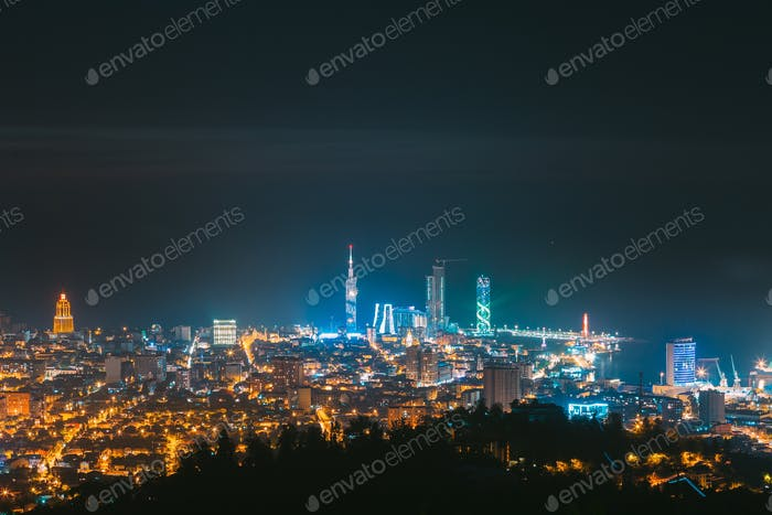 Batumi, Adjara, Georgia. Panorama, Aerial View Of Urban Cityscape At Sunset. Town At Evening Blue