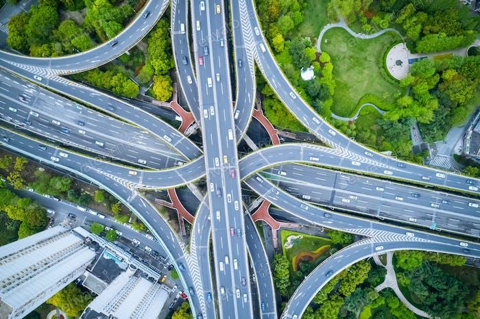 aerial view of elevated road junction in shanghai