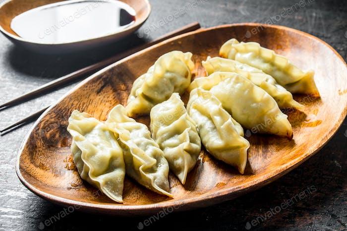 Gedza dumplings with soy sauce.