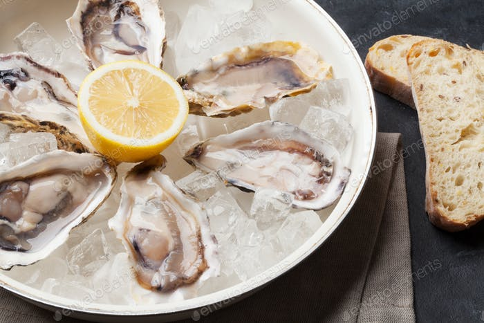 Opened oysters and lemon over ice