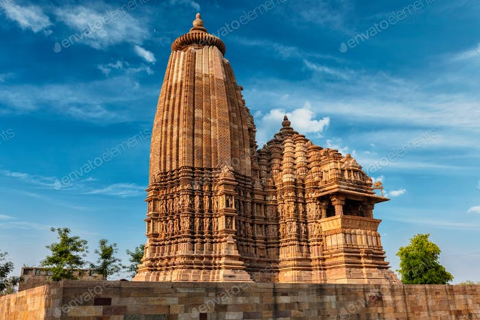 Famous temples of Khajuraho with sculptures, India