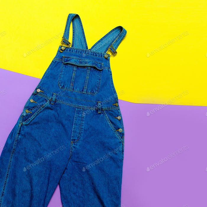 Fashionable denim overalls. Stylish clothes. Urban fashion Minim