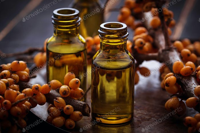 Sea buckthorn  oil in small bottles