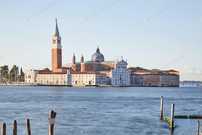 San Giorgio Maggiore island and basilica in Venice at sunset