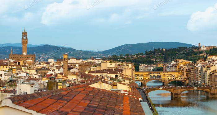 View over Florence with the Ponte Vecchio and Palazzo Vecchio