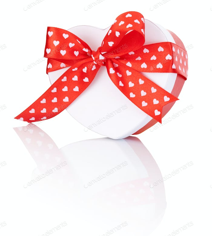 Heart Shaped Box Gift tied with ribbon with a bow Isolated on wh