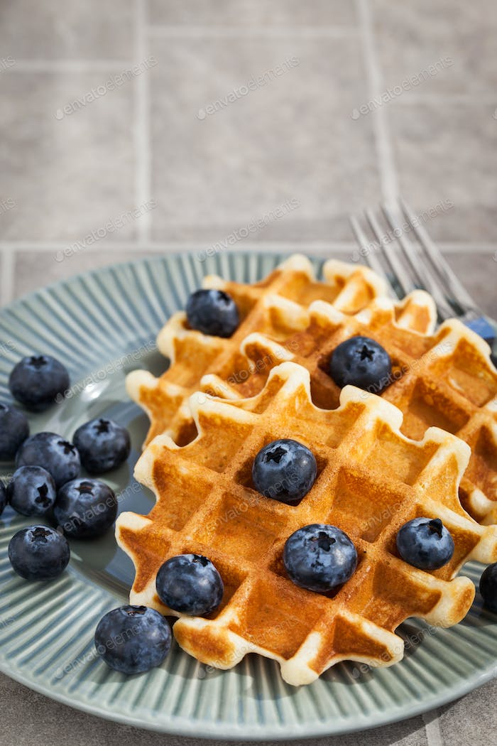 Belgian waffles with fresh blueberries