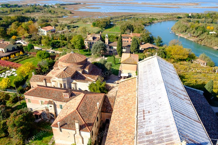 Aerial view of Santa Maria di Assunta cathedral on Torcello island