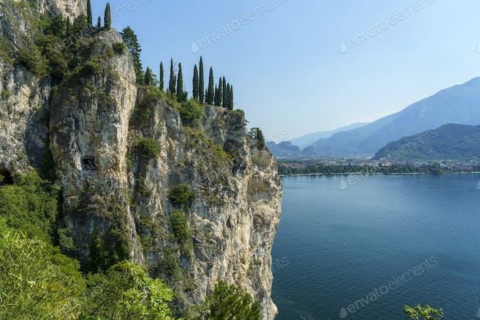 Path of Ponale on the Garda lake, Trentino, Italy