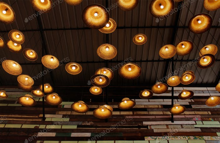 Lamps made of woven hats ideas