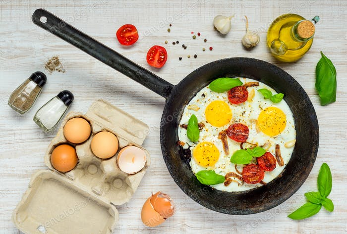 Cooking Pan with Fried Eggs