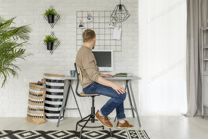 Simple home office with window