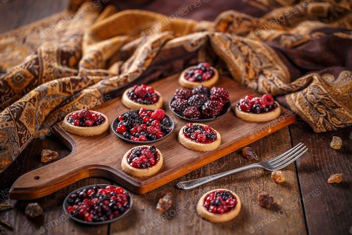Berry tartlets dessert