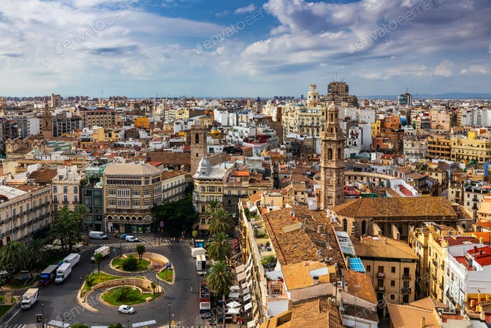 Beautiful view of Valencia from the tower Torre del Miguelete