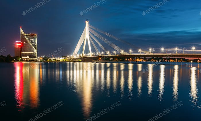 Riga Latvia. Scenic View Of Vansu Cable-Stayed Bridge In Evening