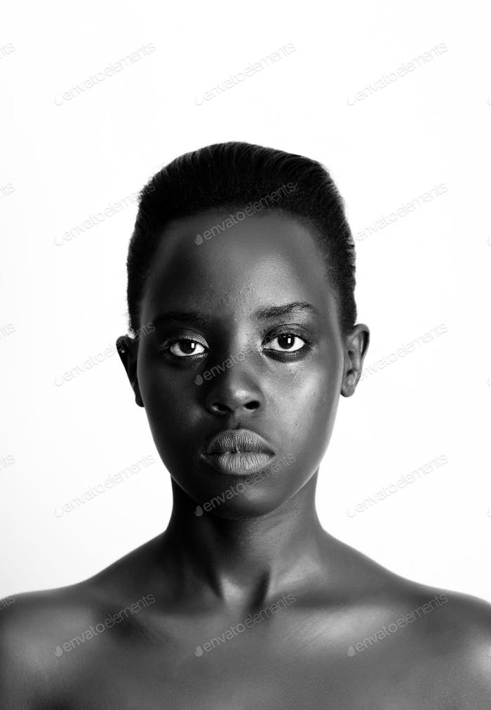 black and white of an african model