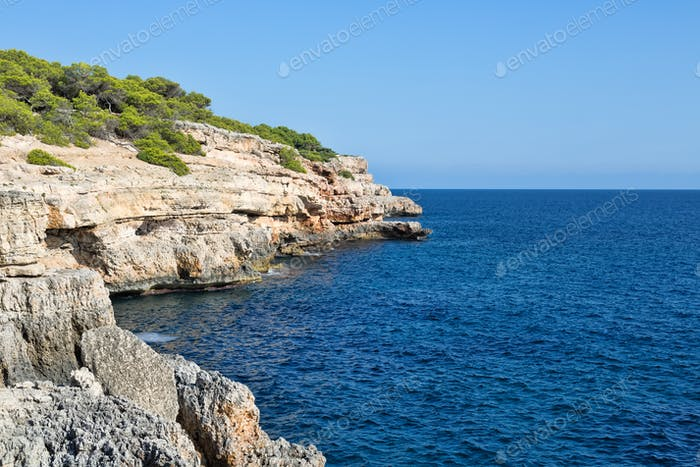 Landscape, rocks on the beach