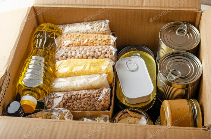 uncooked foods in carton box prepared for disaster emergency conditions