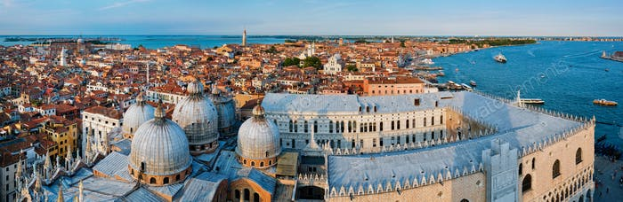 Aerial panorama of Venice with St Mark's Basilica and Doge's Palace. Venice, Italy