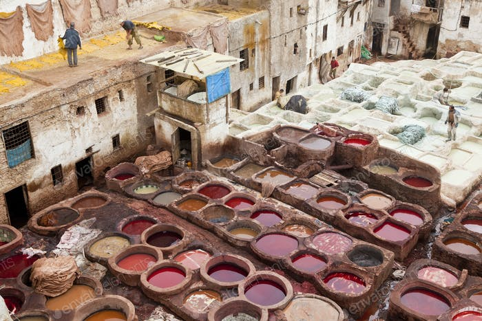 High angle view over medieval, traditional North African tannery.