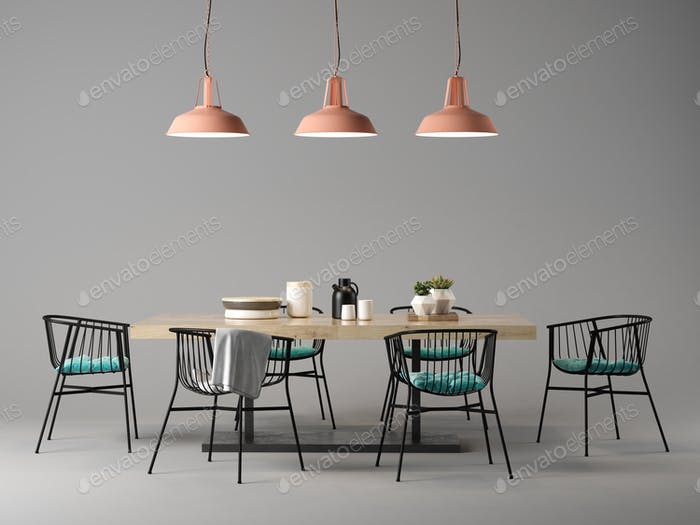 Interior design room with table and chairs concept 3D illustration