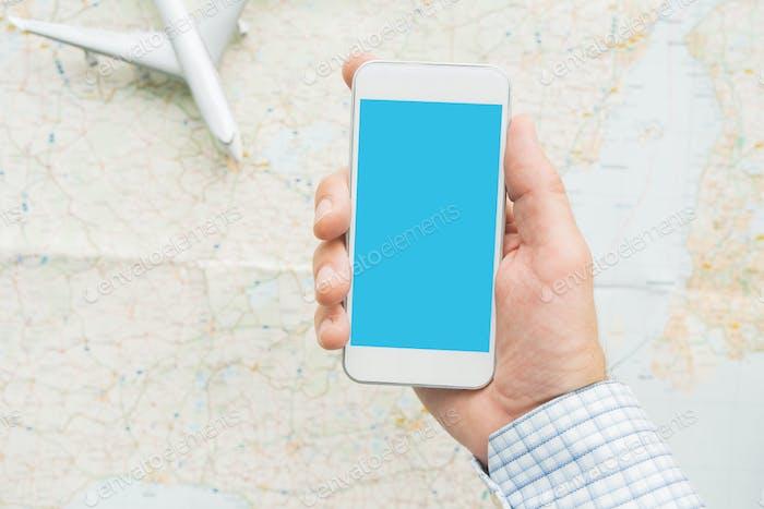 Business travel smartphone mock up