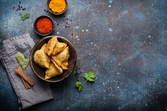 Indian baked stuffed pastry samosa