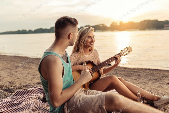 Cold refreshments and a guitar