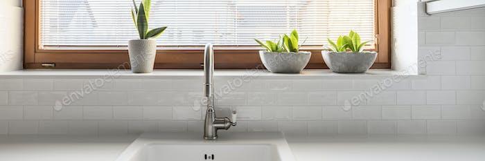 Sink by the window