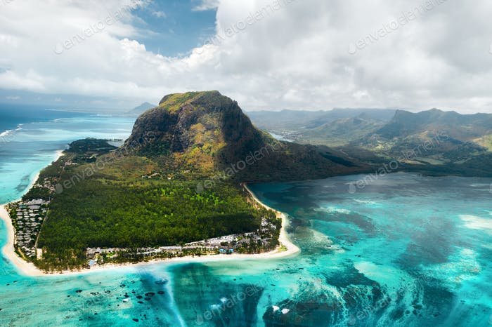 A bird's eye view of Le Morne Brabant on the island of Mauritius