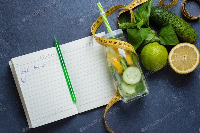 Nutrition plan diet menu. Healthy detox water with lime, lemon, cucumber and mint
