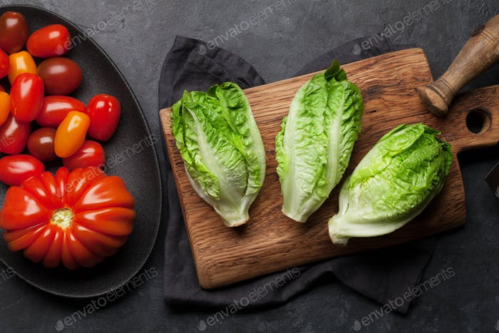 Mini romaine lettuce salad and tomatoes