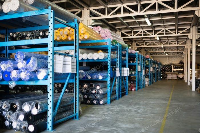 Textile warehouse storing materials