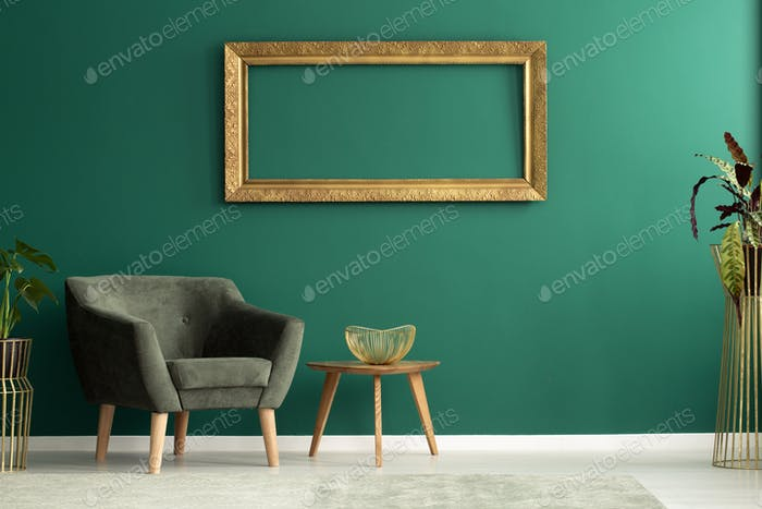 Green apartment interior with mockup