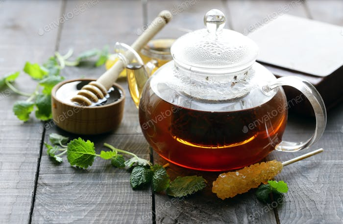 Tea in a Teapot with Mint