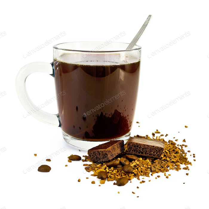 Coffee in a glass mug with chocolate