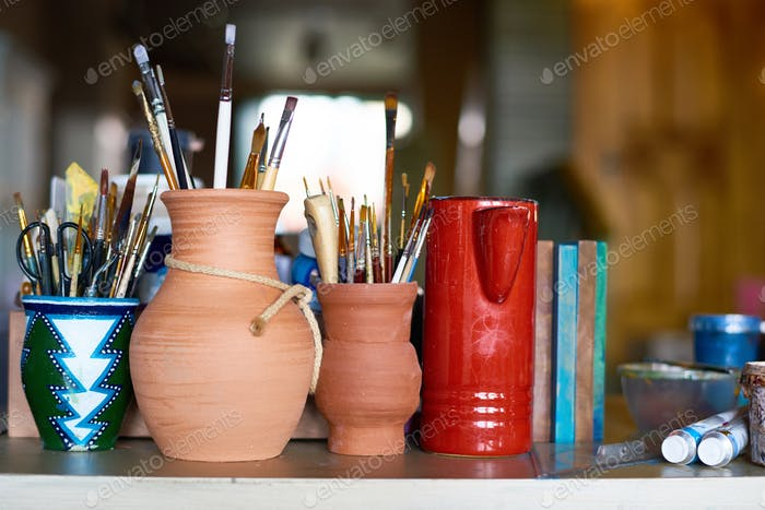 Art Supplies in Pottery Studio
