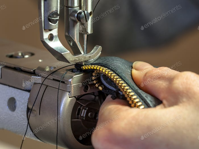 Industrial Sewing machine operated in workshop