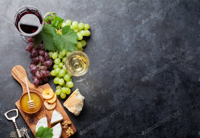 Wine, grape, cheese and honey