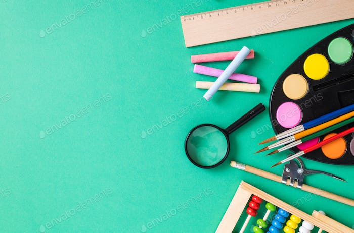 Thumbnail for school supplies on colorful background