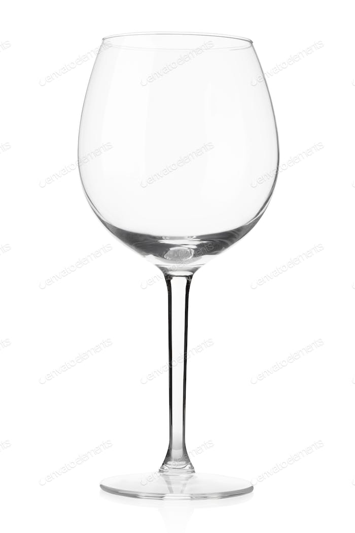 Empty wine glass isolated on white, clipping path included