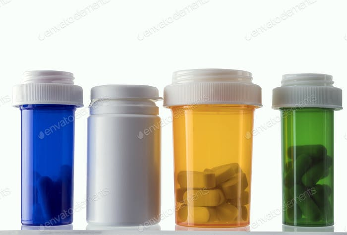 Different types of cosmetic containers and isolated medicines on a white background